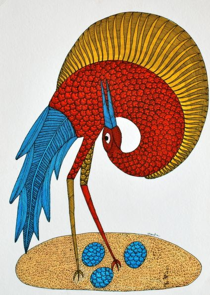 Gond Tribal Wall Art On Paper - Bird With Three Eggs