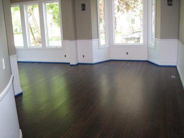 Brown and gray Bathroom Ideas | dining rooms - Benjamin Moore Sag Harbor Grey, Dark Brown floor,
