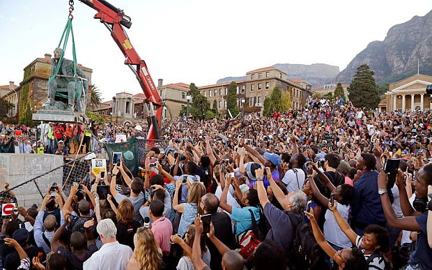 Cecil Rhodes statue pulled down in Cape Town.  Statue of White Terrorist Cecil Rhodes Finally Comes Down in South Africa!