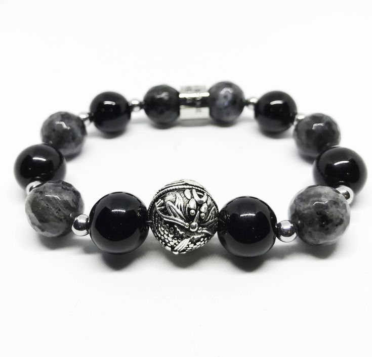 The Meditation and Transformation Sterling Silver Dragon, Black Agate and Labradorite Bracelet