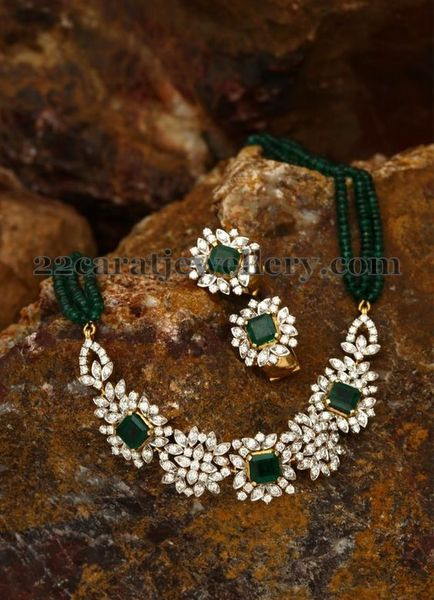 Emerald Beads Set Diamond Calsps