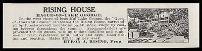 Hague on Lake George 1915 Rising House 100 Guests Lake George NY Hotel Photo AD