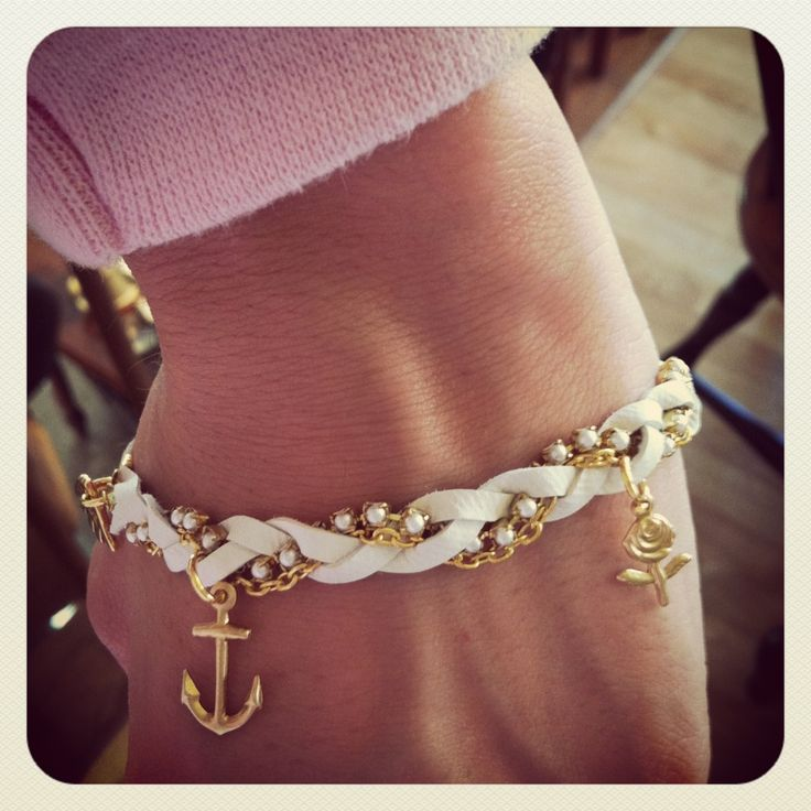 anchor braceletLeather Plaits, Anchors Bracelets, Charms, Chains, Plaits Bracelets, Braids, Nautical Bracelets, Jewelry, Accessories