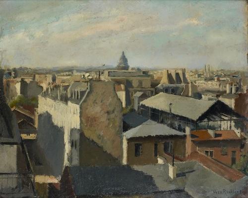Vera Rockline (Russian, 1896-1934), Les toits de Paris [The roofs of Paris]. Oil on canvas, 60 x 73cm.