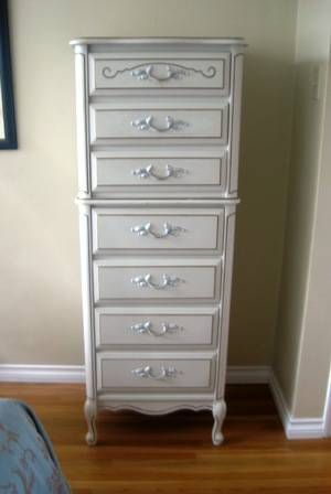 Baronet French Provincial Furniture, (8) Pieces. White With Gold Detailing.  Circa