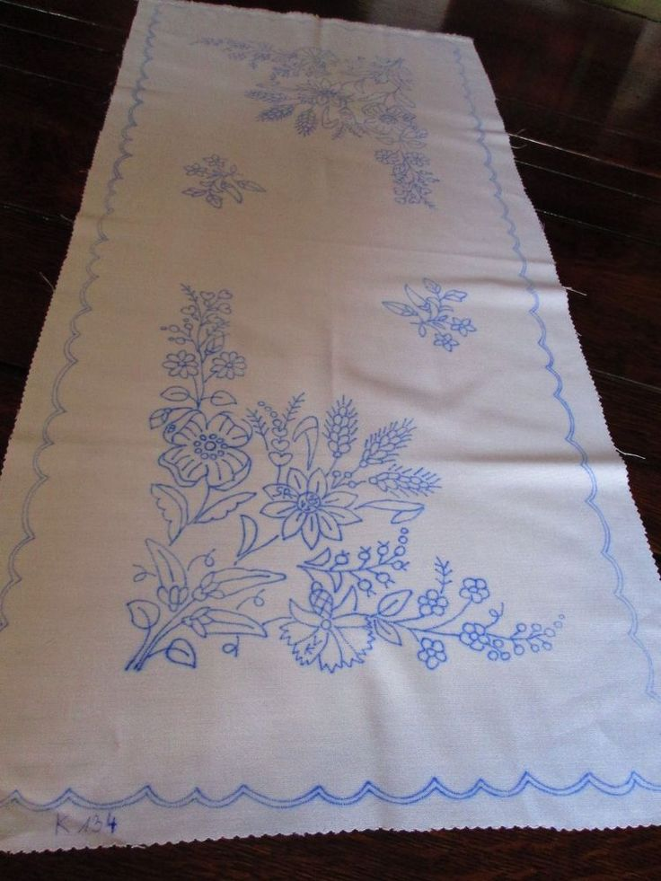 Poppy &Corn flower Table Runner stamped for hand embroidery Hungarian Kalocsa #Handmade