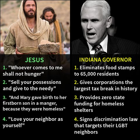 Indiana Gov.concerned about Religious Freedom because he's Christian. Gov. Mike Pence is the lowest form of scum. Using religion to attack his neighbors because they are different than him. Taking the good name of a man of peace and twisting it for his his own diluted self benefit, a run for the White House.