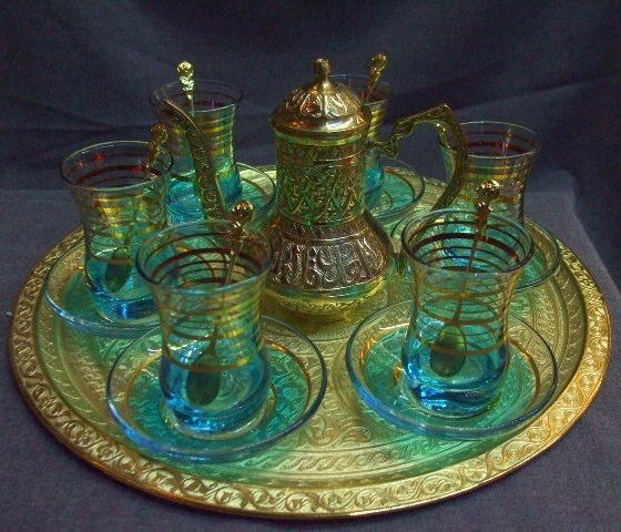 Turkish tea set!! Love the blues and gold.