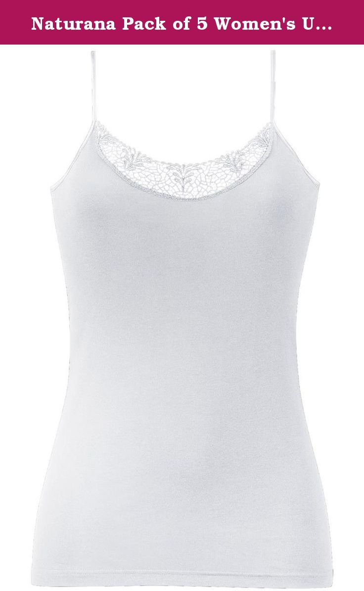 Naturana Pack of 5 Women's Undervests 802603 White 3XL. Naturana women's undervest with spaghetti straps and guipure of lace on the neckline. Made of pure and soft cotton guaranteeing a comfortable feeling. In pack of 5. 100% cotton .