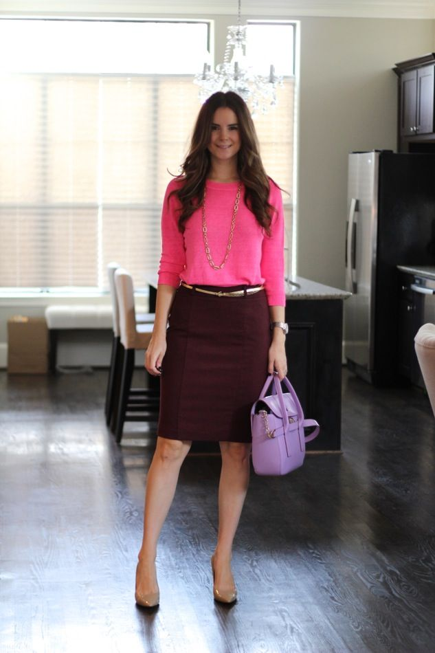 Neon After Summer? Pair a neon top with a something in a deeper hue. Neon pink top, bordeaux pencil skirt and nude heels with light purple bag