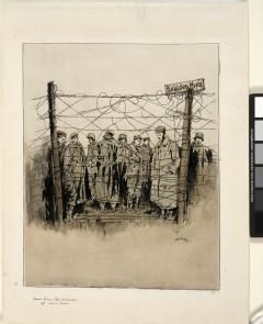 AdrianHill: An Advanced Cage For German Prisoners, 1917. A group of German prisoners of war stand listlessly behind a high barbed-wire fence. Most stand around in overcoats, their hands in their pockets.