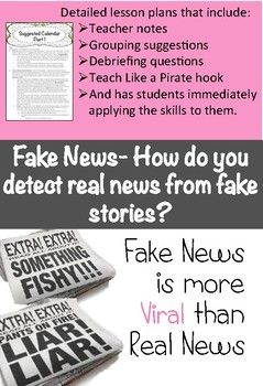 Fake News- How do you detect real news from fake stories? Fake news spreads quicker than real news...why? As a social studies teacher I have taken this as a personal challenge to empower students with the skills to figure out the difference between real and lies.     Kick off the lesson by having students collect 5 of their own news titles.