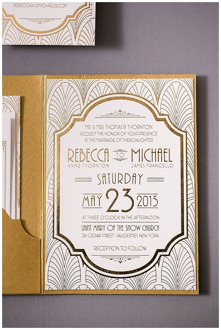 Art deco wedding invitations are a gorgeous addition to any art deco inspired event. Printed with gold foil, these gold wedding invitations have a die cut pocket to hold the ticket style response card. Click to see all of the details or PIN to save for later!