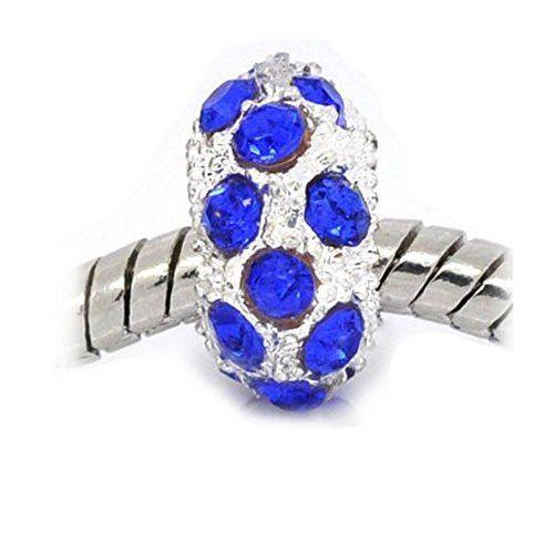 Dark Blue Rhinestone Birthstone Charm Fits European Snake Chain Charm Bracelet
