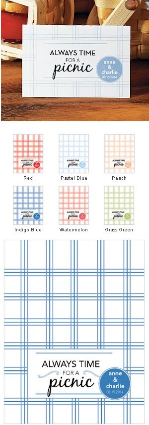 Personalized Picnic Tent Card (Set of 6 – 6 Color Options)
