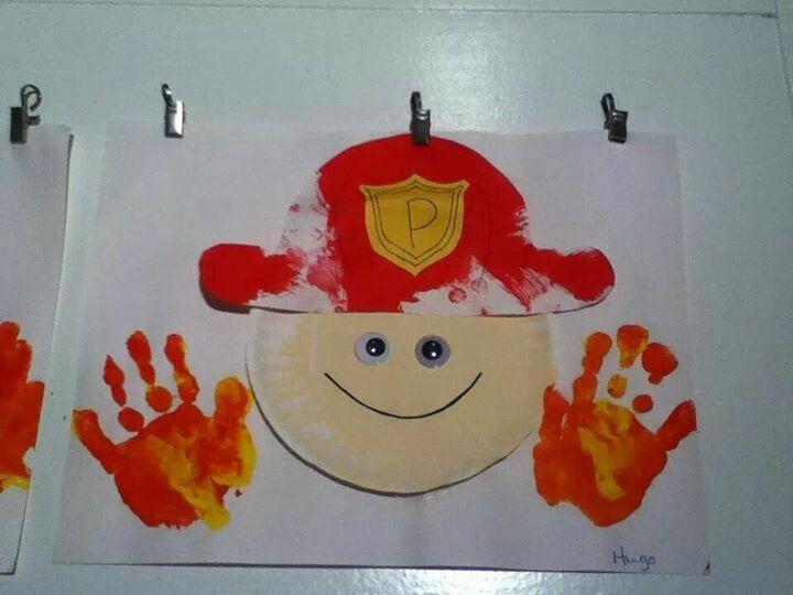 brandweerman met handafdruk (hoofd van Jules gebruiken)
