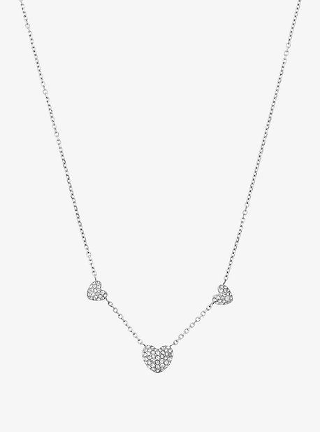 Pave Silver-Tone Heart Necklace
