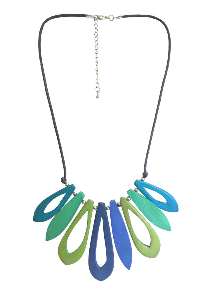 One Button short length necklace with multi cut out oval shapes on cord with clasp #green #blue #multi #gorgeousgreens #necklace #accessories #onebutton Click here to see more products from the One Button shop.