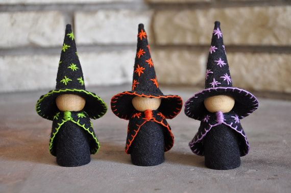 Three Little Wooden and Wool Felt Witches – A Waldorf and Montessori Inspired Halloween Toy - Wooden Peg Doll - Halloween Decor
