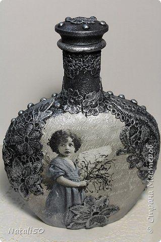 Декор предметов Рождество Декупаж Графин для Святой Воды Бутылки стеклянные Краска Кружево Салфетки фото 2