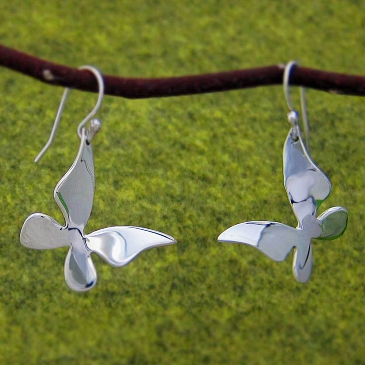 Handmade Silver Jewelry   Emilio Sotelo Jewelry   Queen Butterfly Silver Earrings - French Wire (PT.132F)