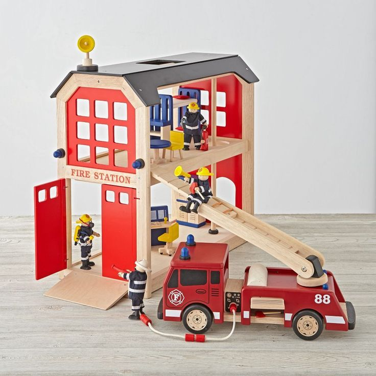 Your kids can go on tons of imaginary rescue adventures with the help of our wooden toy firehouse set. This set features a fire engine, fire station, firefighters and lots of accessories and furniture for imaginary play.