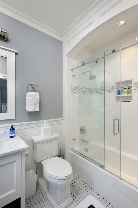 Sliding Shower Doors, Transitional, Bathroom, Blue Water Home Builders