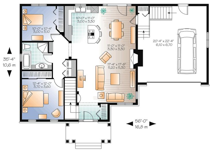 Drummond House Plans     Craftsman Bungalow, Open Living Concept, Two Car  Garage, Fireplace In Family Room, Unfinished Basement