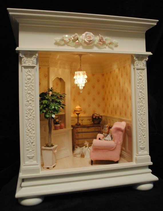 76 best room boxes images on pinterest miniature rooms dollhouses and miniature houses. Black Bedroom Furniture Sets. Home Design Ideas