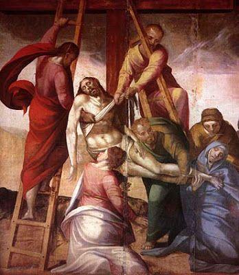 Descida da Cruz (1564). António Nogueira (15??-1575). Óleo sobre madeira (115 x 115 cm). Museu Rainha D. Leonor, Beja.