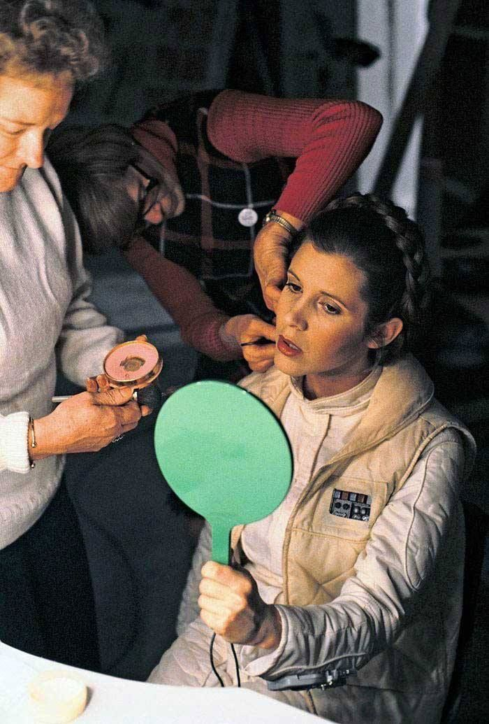 Carrie Fisher during the filming of 'The Empire Strikes Back'