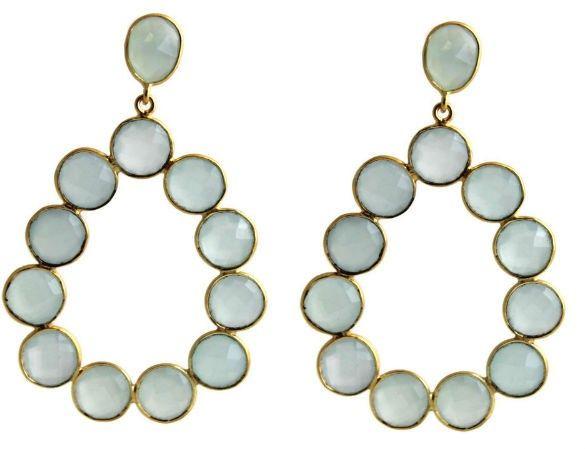 Cecilie Aqua Chalcedony Chandelier Post Earrings