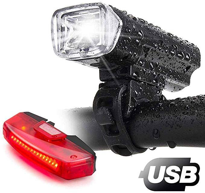 New Waterproof 5 LED Lamp Bike Bicycle Front Head Light+Rear Safety Flashlight P