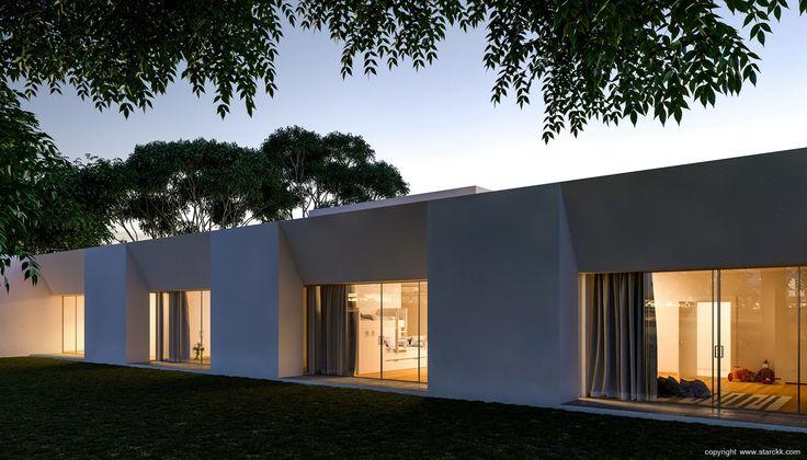 render/infografía 3d casa moderna minimalista líneas puras realizado por www.starckk.com