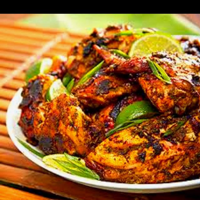 Jamaican jerk chicken: Jerk Chicken Recipes, Jamaican Recipes Chicken, Jamaican Jerk Chicken, Caribbean Food Recipes, Caribbean Food Chicken, Jamaican Foods, Jerkchicken, Better Jamaican