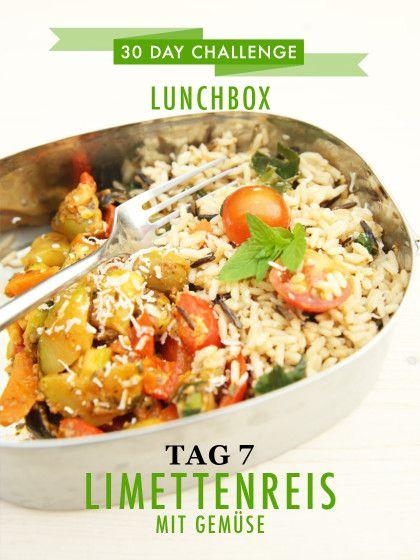 30 day challenge: Jeden Tag ein leckeres Mittagessen für die Büro-Lunchbox zubereiten. Hier das Rezept für Limettenreis mit Gemüse.
