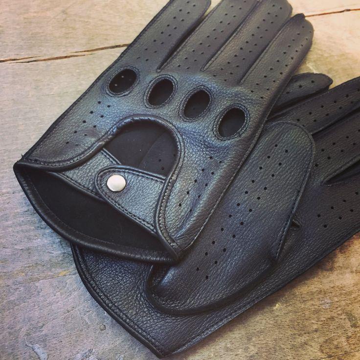 Men's+Deerskin+Driving+Gloves+Hand+sewn+Deer+skin+driving+gloves+Black+gloves+Unlined+Size+8,5''+M