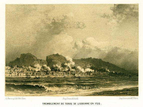 1881 Gravure Ancienne Tremblement de Terre par sofrenchvintage