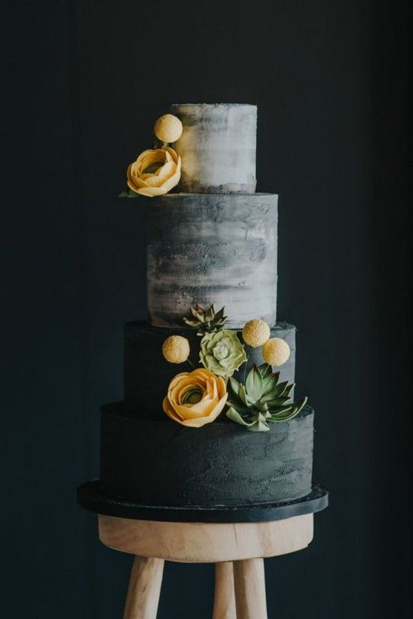 moderne industrielle Hochzeitstorte mit Sukkulenten   – We Ate All The Cake