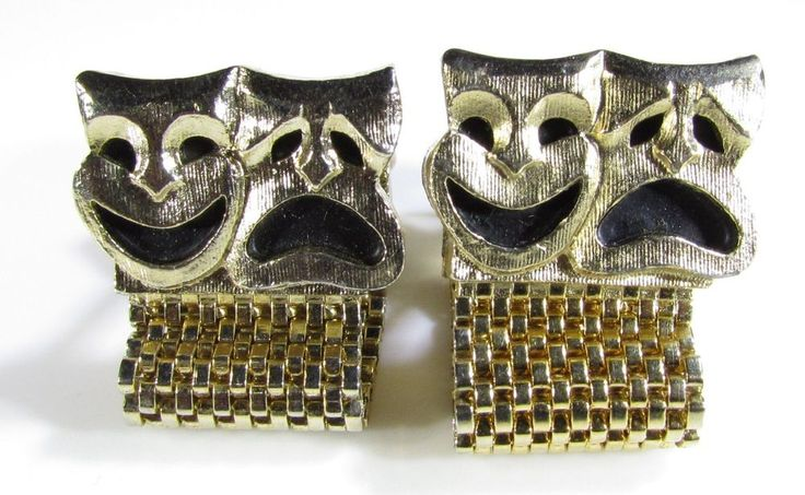 Vintage Wrap Around Cufflinks with Tragedy Comedy Theater Masks by Swank #Swank
