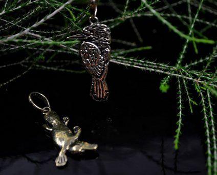 brass-platypus and kookaburra Melanie Woods World Jewellery