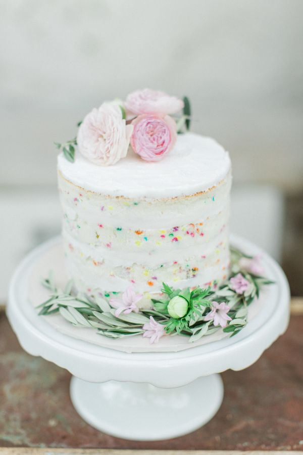 Darling little Funfetti Wedding Cake idea - naked sides