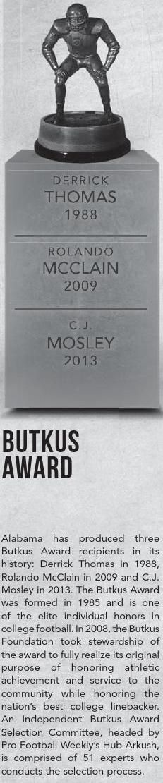Alabama has had 3 Butkus Award winners, Derrick Thomas, Rolando McClain and C.J…