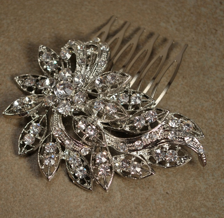 Crystal Hair Clip, Rhinestone Bridal Hair comb Vintage Hair Brooch Wedding Jewel Comb Classic Wedding Hair Accessories - Ready to Ship. $27.95, via Etsy.