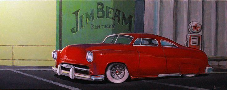 "Acrylic on canvas 19,5cm X 49,5cm. ""Jim BeaM"""