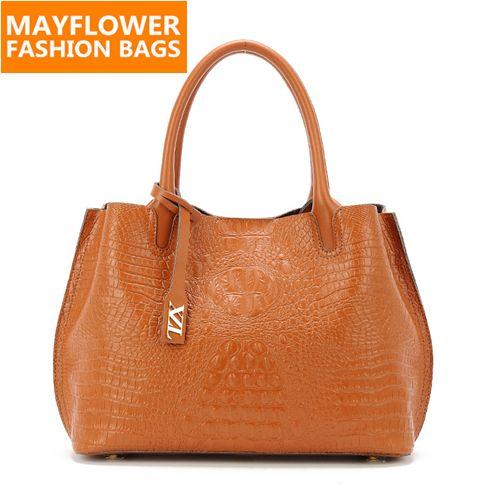 Crocodile pattern real genuine leather bags for women vintage ladies designer brand handbag high quality tote shoulder bags 2015