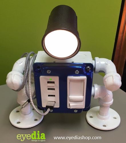 Robot Desk Lamp w/ USB Ports (Blue/White) #oneofakind #industrial #table lamps #lamps for sale #handmadeinky