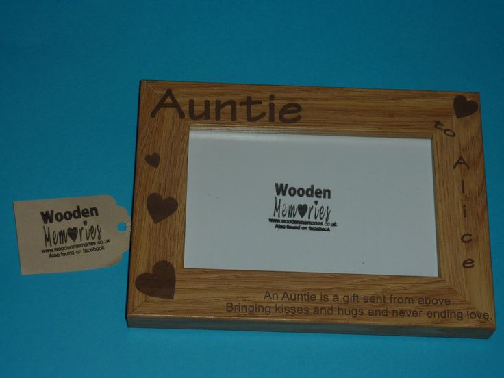 Aunt personalised Engraved Photo Frame 6 by 4 inch Wooden Frame.  Ideal xmas gift by WoodenPhotoMemories on Etsy https://www.etsy.com/listing/166238525/aunt-personalised-engraved-photo-frame-6