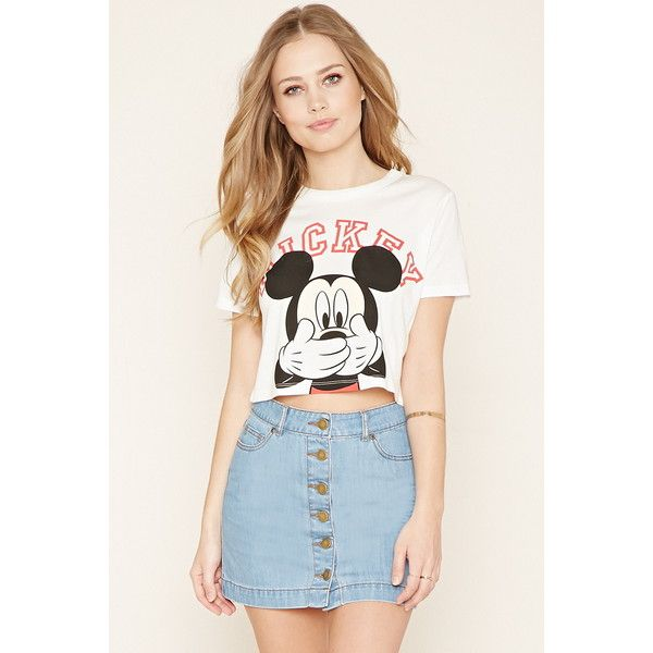 Forever 21 Women's  Mickey Graphic Crop Top ($15) ❤ liked on Polyvore featuring tops, forever 21 tops, short sleeve tops, white short sleeve top, mickey mouse tops and forever 21