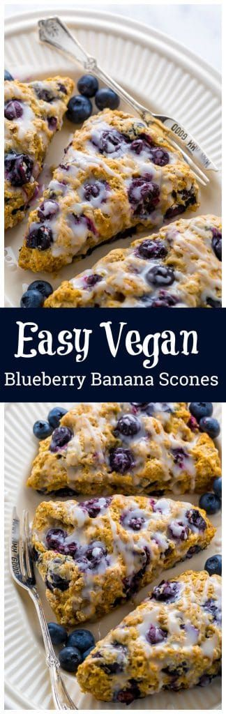 An easy recipe for The BEST Vegan Blueberry Banana Scones! #vegan